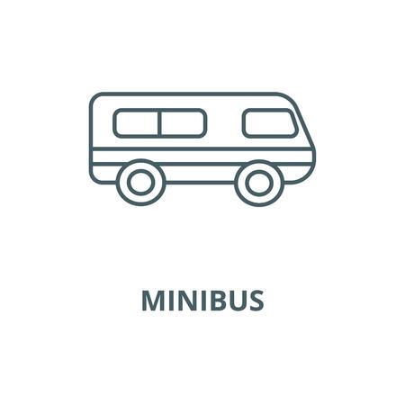 Microbus, Minibus-Vektor-Liniensymbol, Umrisskonzept, lineares Zeichen