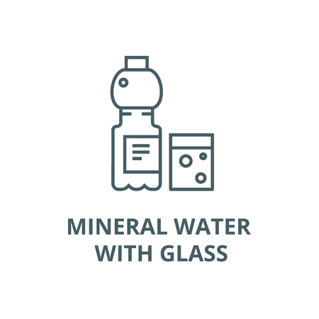 Mineral water with glass vector line icon, outline concept, linear sign Çizim