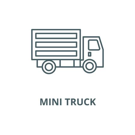 Mini truck vector line icon, outline concept, linear sign