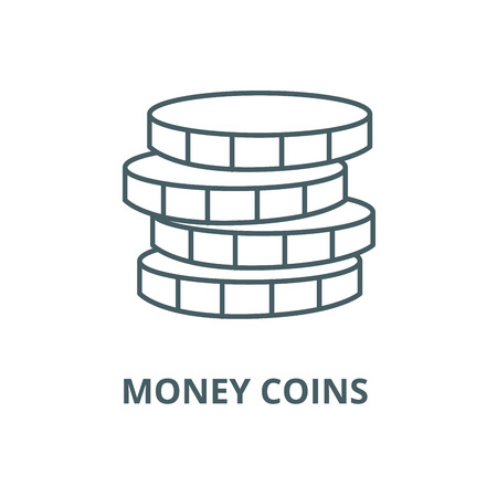 Money coins  vector line icon, outline concept, linear sign Illustration