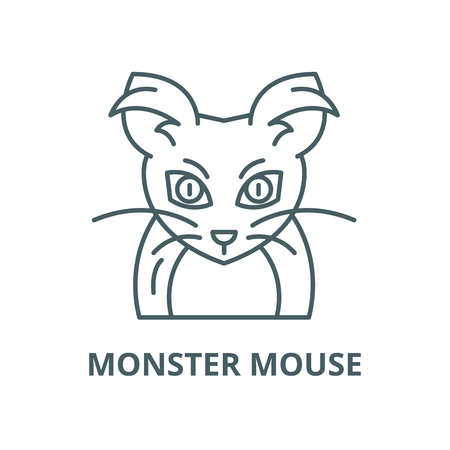 Monster mouse vector line icon, outline concept, linear sign