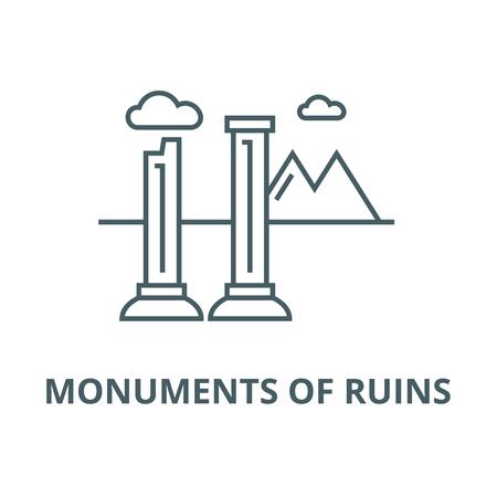 Monumenti di rovine linea del vettore icona, concetto di contorno, segno lineare Vettoriali