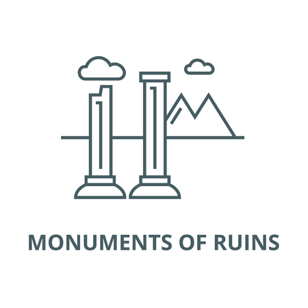 Monuments of ruins vector line icon, outline concept, linear sign Ilustração