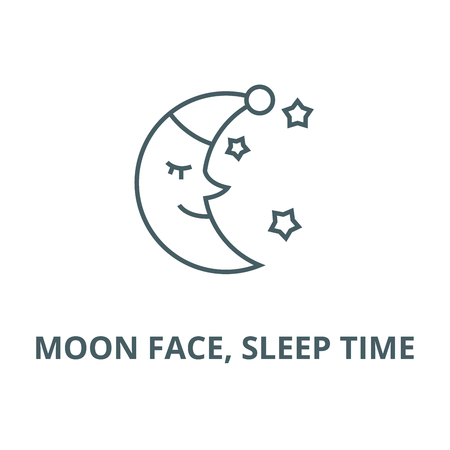 Moon face, sleep time vector line icon, outline concept, linear sign