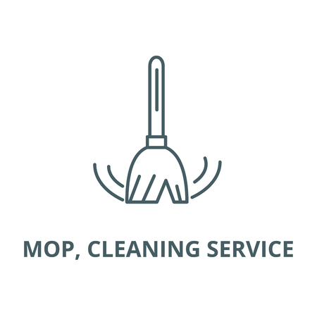 Mop, cleaning service vector line icon, outline concept, linear sign