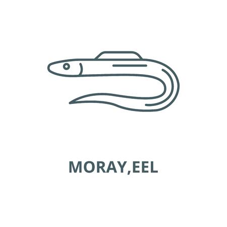 Moray,l'icône de la ligne du vecteur de l'anguille, concept de contour, signe linéaire