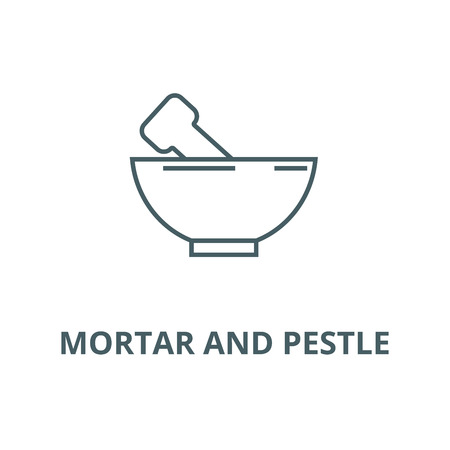 Mortar and pestle vector line icon, outline concept, linear sign Illustration