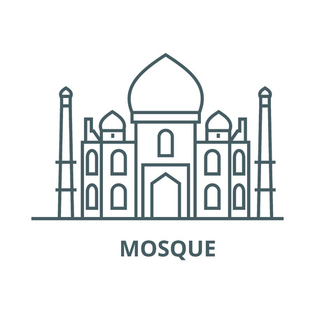 Mosque, islam vector line icon, outline concept, linear sign