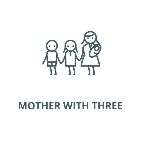 Mother with three  vector line icon, outline concept, linear sign  イラスト・ベクター素材
