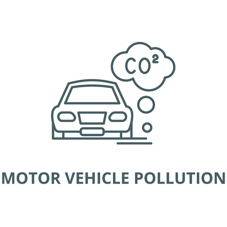 Motor vehicle pollution vector line icon, outline concept, linear sign