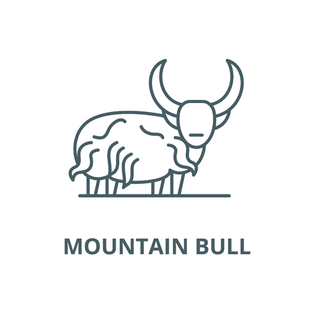 Mountain bull vector line icon, outline concept, linear sign Illustration