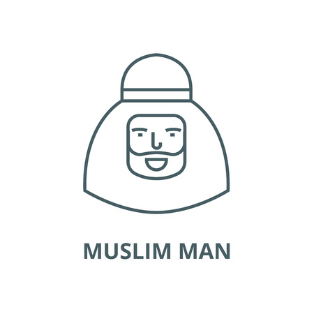 Muslim man vector line icon, outline concept, linear sign