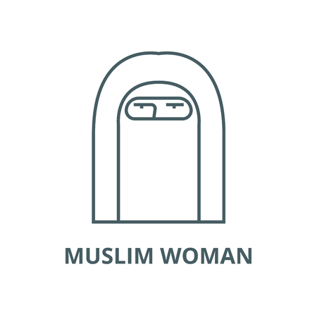 Muslim woman vector line icon, outline concept, linear sign