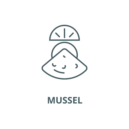 Mussel vector line icon, outline concept, linear sign