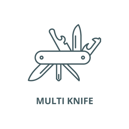 Multi knife vector line icon, outline concept, linear sign