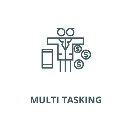 Multi tasking problem,man with money  vector line icon, outline concept, linear sign 矢量图像