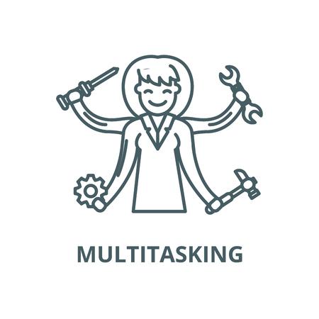 Multitasking vector line icon, outline concept, linear sign Illustration