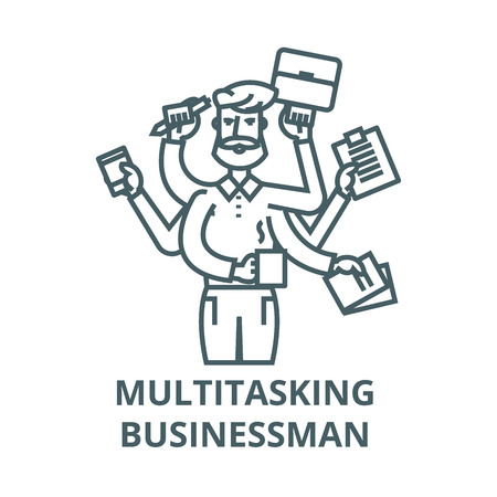 Multitasking businessman with case,  vector line icon, outline concept, linear sign