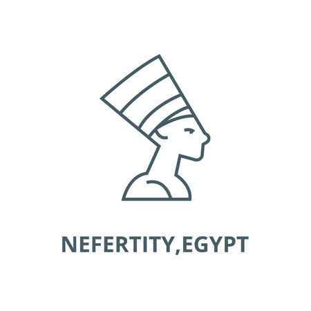 Nefertity,egypt vector line icon, outline concept, linear sign