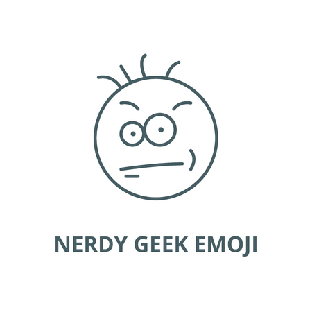 Nerdy geek emoji vector line icon, outline concept, linear sign