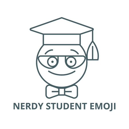 Nerdy student emoji vector line icon, outline concept, linear sign