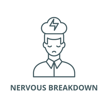 Nervous breakdown vector line icon, outline concept, linear sign