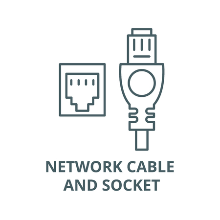 Network cable and socket vector line icon, outline concept, linear sign Illustration