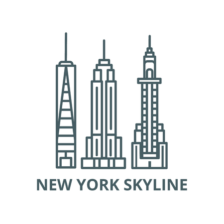 New york skyline vector line icon, outline concept, linear sign