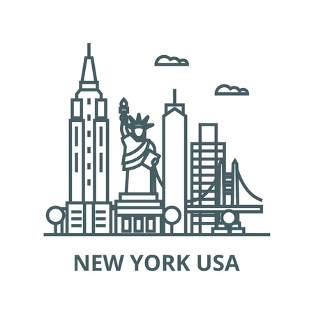 New york usa vector line icon, outline concept, linear sign