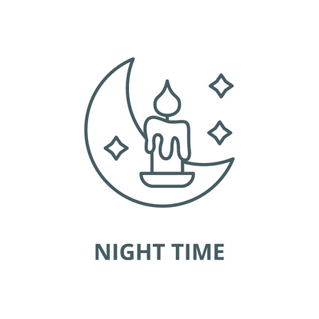 Night time vector line icon, outline concept, linear sign Ilustração