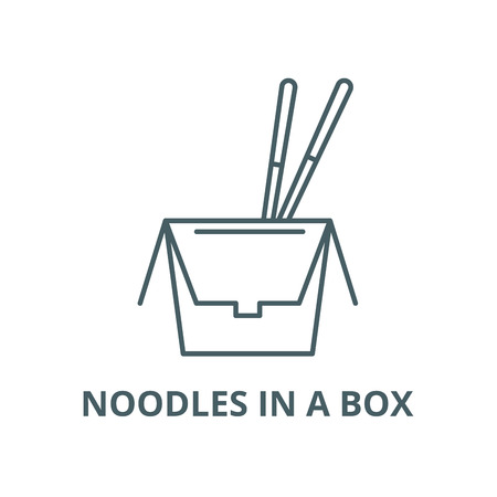 Noodles in a box vector line icon, outline concept, linear sign Banque d'images - 122416599