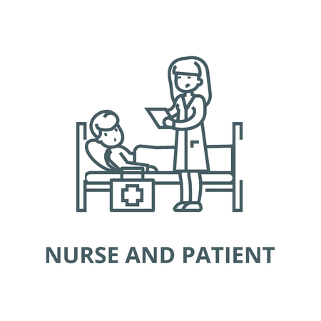 Nurse and patient vector line icon, outline concept, linear sign