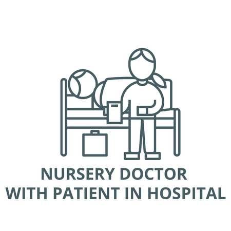 Nursery doctor with patient in hospital vector line icon, outline concept, linear sign