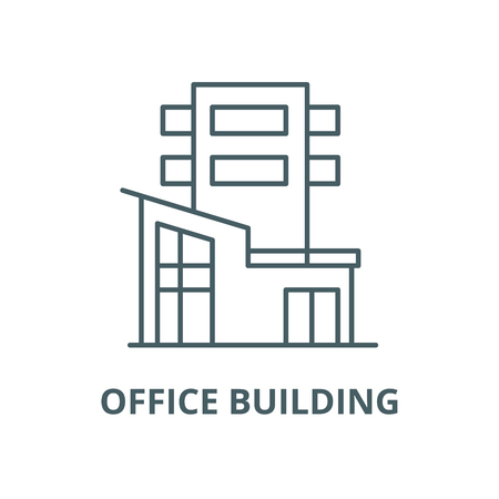 Office building vector line icon, outline concept, linear sign