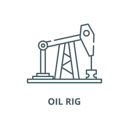 Oil rig vector line icon, outline concept, linear sign