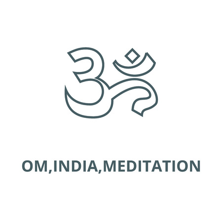 Om,india,meditation vector line icon, outline concept, linear sign