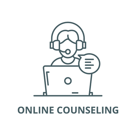 Online counseling vector line icon, outline concept, linear sign Vettoriali