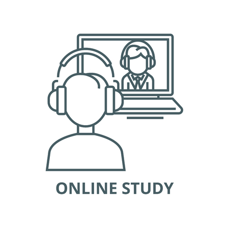 Online interview,study,school vector line icon, outline concept, linear sign Illustration
