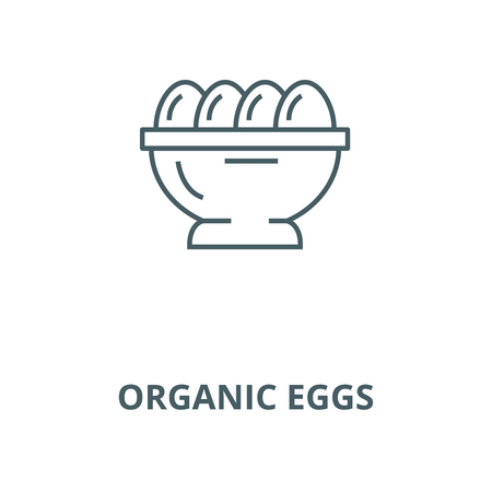 Organic eggs vector line icon, outline concept, linear sign Imagens - 122416511