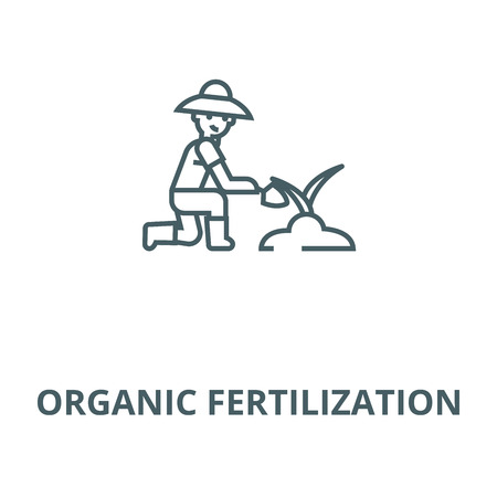 Organic fertilization vector line icon, outline concept, linear sign