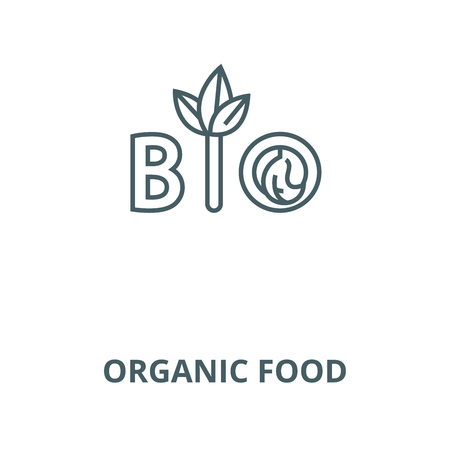 Organic food vector line icon, outline concept, linear sign