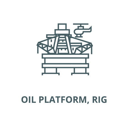 Oil platform, rig vector line icon, outline concept, linear sign