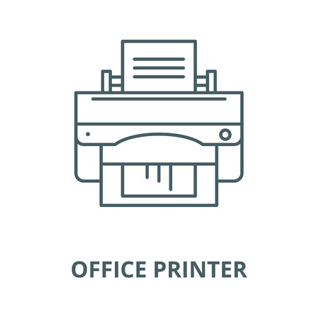 Office printer vector line icon, outline concept, linear sign Standard-Bild - 122416731