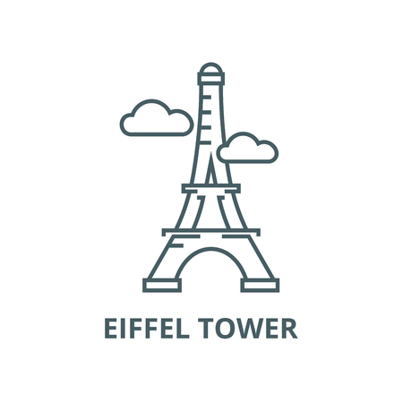 Paris,eiffel tower vector line icon, outline concept, linear sign Ilustracja