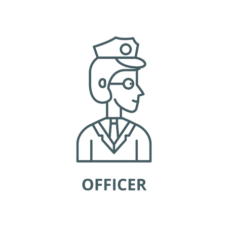 Officer vector line icon, outline concept, linear sign