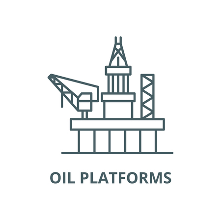 Oil platforms vector line icon, outline concept, linear sign Illustration