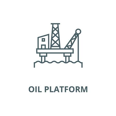 Oil platform vector line icon, outline concept, linear sign Illustration
