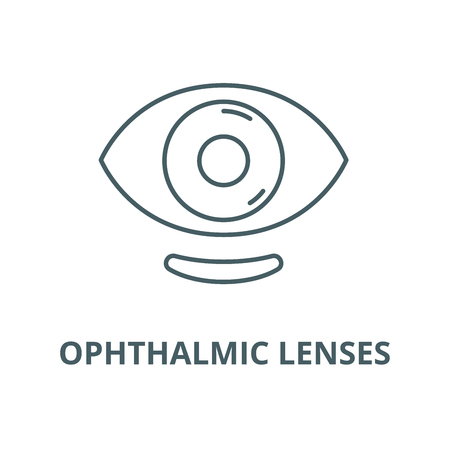 Augenlinsen Vektorliniensymbol, Umrisskonzept, lineares Zeichen