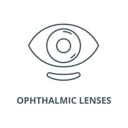 L'icône de la ligne du vecteur de lentilles ophtalmiques, concept de contour, signe linéaire