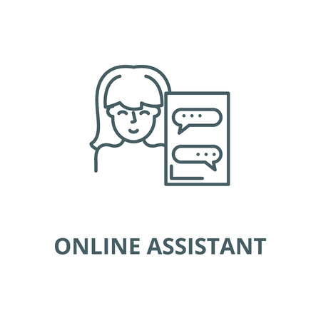 Online assistant vector line icon, outline concept, linear sign Illustration